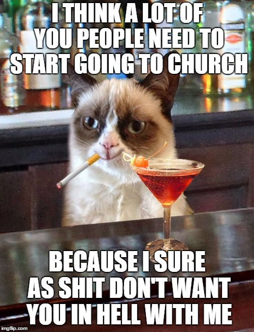 I THINK A LOT OF YOU PEOPLE NEED TO START GOING TO CHURCH BECAUSE I SURE AS SHIT DON'T WANT YOU IN HELL WITH ME | image tagged in grumpy cat,random,grumpy | made w/ Imgflip meme maker
