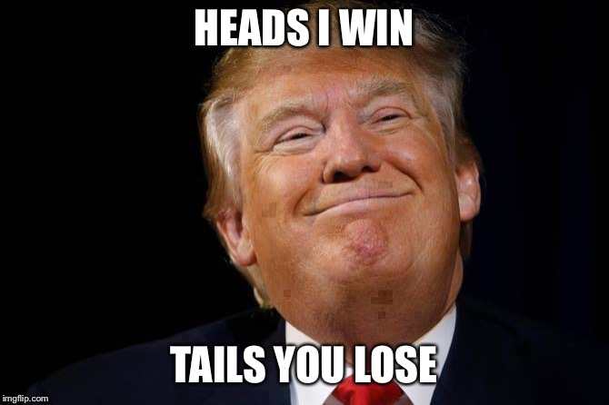 Heads I win, Tails you lose | HEADS I WIN TAILS YOU LOSE | image tagged in donald trump,smug,sneaky | made w/ Imgflip meme maker