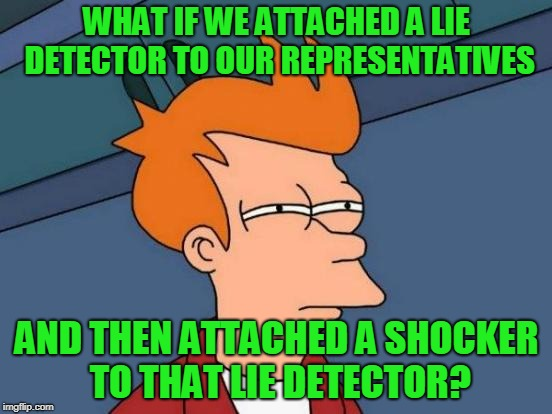 When our elected officials speak, they should have to wear a lie detector....extend that to the media too! | WHAT IF WE ATTACHED A LIE DETECTOR TO OUR REPRESENTATIVES AND THEN ATTACHED A SHOCKER TO THAT LIE DETECTOR? | image tagged in memes,futurama fry | made w/ Imgflip meme maker