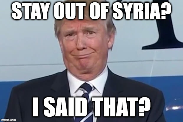 Trump Syria | STAY OUT OF SYRIA? I SAID THAT? | image tagged in donald trump,memes,syria | made w/ Imgflip meme maker