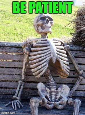 Waiting Skeleton Meme | BE PATIENT | image tagged in memes,waiting skeleton | made w/ Imgflip meme maker