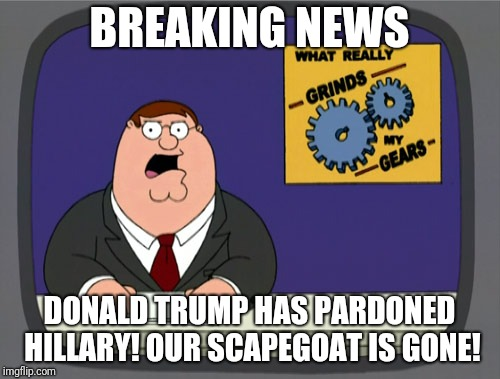 Peter Griffin News Meme | BREAKING NEWS DONALD TRUMP HAS PARDONED HILLARY! OUR SCAPEGOAT IS GONE! | image tagged in memes,peter griffin news | made w/ Imgflip meme maker