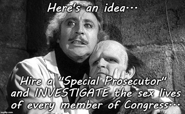 "An idea... | Here's an idea... Hire a ""Special Prosecutor"" and INVESTIGATE the sex lives of every member of Congress... 