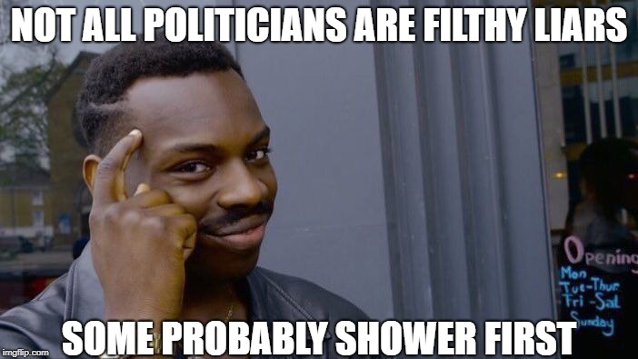 Roll Safe Think About It Meme | NOT ALL POLITICIANS ARE FILTHY LIARS SOME PROBABLY SHOWER FIRST | image tagged in memes,roll safe think about it | made w/ Imgflip meme maker