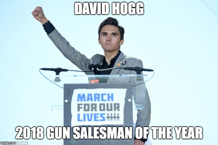 DAVID HOGG 2018 GUN SALESMAN OF THE YEAR | image tagged in heil david hogg | made w/ Imgflip meme maker
