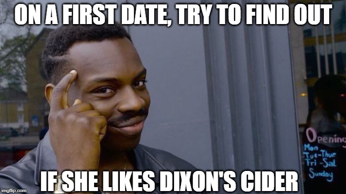 First Things First... | ON A FIRST DATE, TRY TO FIND OUT IF SHE LIKES DIXON'S CIDER | image tagged in memes,roll safe think about it | made w/ Imgflip meme maker