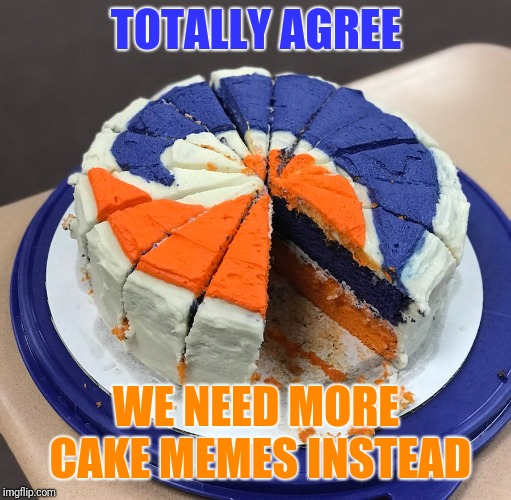 TOTALLY AGREE WE NEED MORE CAKE MEMES INSTEAD | made w/ Imgflip meme maker