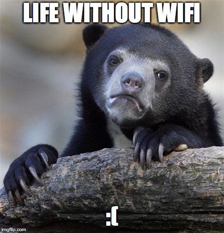 Confession Bear Meme | LIFE WITHOUT WIFI :( | image tagged in memes,confession bear | made w/ Imgflip meme maker
