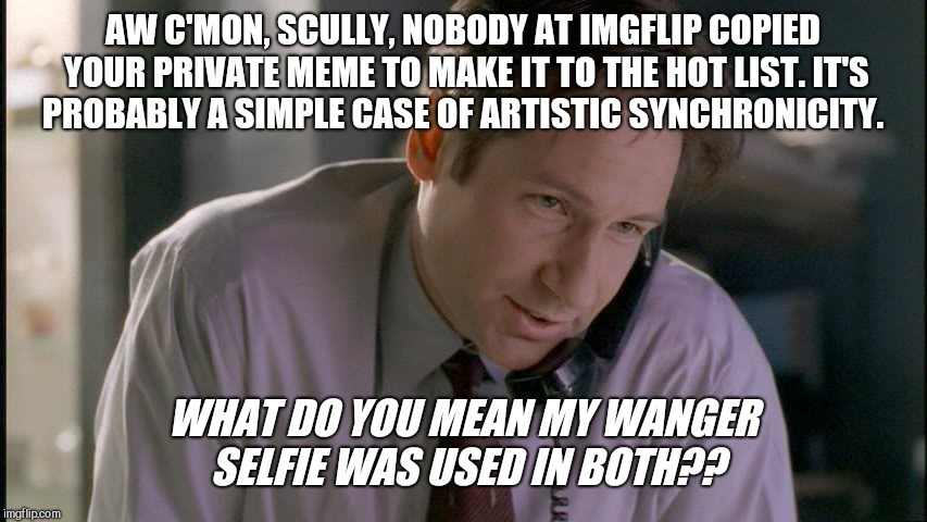 x files mulder on phone | AW C'MON, SCULLY, NOBODY AT IMGFLIP COPIED YOUR PRIVATE MEME TO MAKE IT TO THE HOT LIST. IT'S PROBABLY A SIMPLE CASE OF ARTISTIC SYNCHRONICI | image tagged in x files mulder on phone,x-files,conspiracy theory,imgflip,synchronicity | made w/ Imgflip meme maker