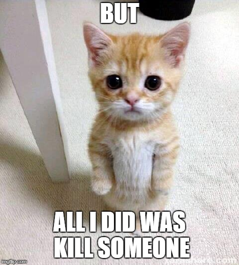 Cute Cat | BUT ALL I DID WAS KILL SOMEONE | image tagged in memes,cute cat | made w/ Imgflip meme maker