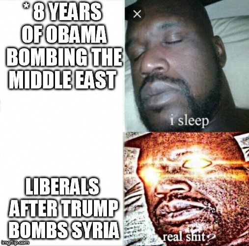 Go back to sleep  | * 8 YEARS OF OBAMA BOMBING THE MIDDLE EAST LIBERALS AFTER TRUMP BOMBS SYRIA | image tagged in memes,sleeping shaq,trump,obama | made w/ Imgflip meme maker