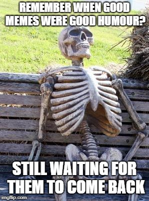 Waiting Skeleton Meme | REMEMBER WHEN GOOD MEMES WERE GOOD HUMOUR? STILL WAITING FOR THEM TO COME BACK | image tagged in memes,waiting skeleton | made w/ Imgflip meme maker