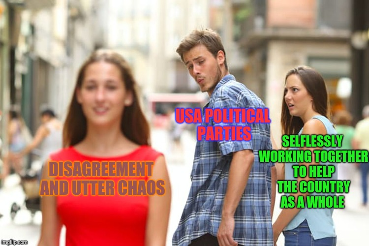 Distracted Boyfriend Meme | DISAGREEMENT AND UTTER CHAOS USA POLITICAL PARTIES SELFLESSLY WORKING TOGETHER TO HELP THE COUNTRY AS A WHOLE | image tagged in memes,distracted boyfriend | made w/ Imgflip meme maker