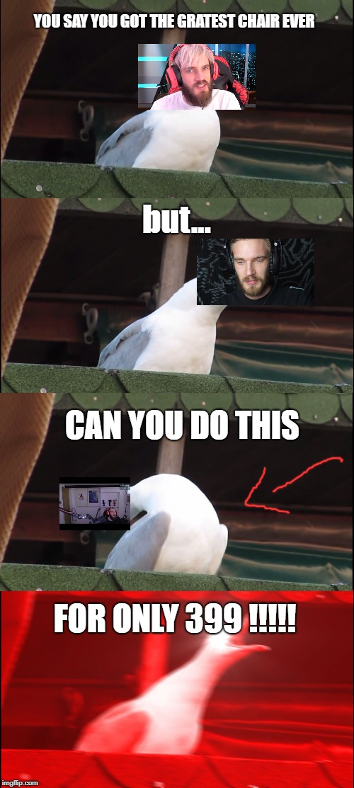 Inhaling Seagull Meme | YOU SAY YOU GOT THE GRATEST CHAIR EVER but... CAN YOU DO THIS FOR ONLY 399 !!!!! | image tagged in memes,inhaling seagull | made w/ Imgflip meme maker