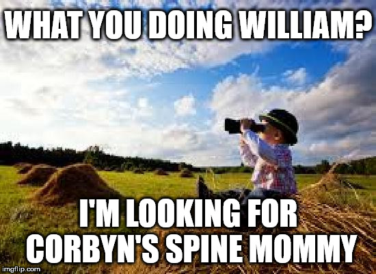 The search for Corbyn's backbone | WHAT YOU DOING WILLIAM? I'M LOOKING FOR CORBYN'S SPINE MOMMY | image tagged in corbyn eww,syria russia,communist socialist,party of haters,funny,momentum | made w/ Imgflip meme maker