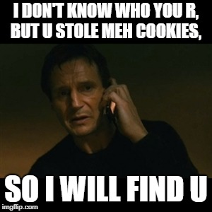 Liam Neeson Taken | I DON'T KNOW WHO YOU R, BUT U STOLE MEH COOKIES, SO I WILL FIND U | image tagged in memes,liam neeson taken | made w/ Imgflip meme maker
