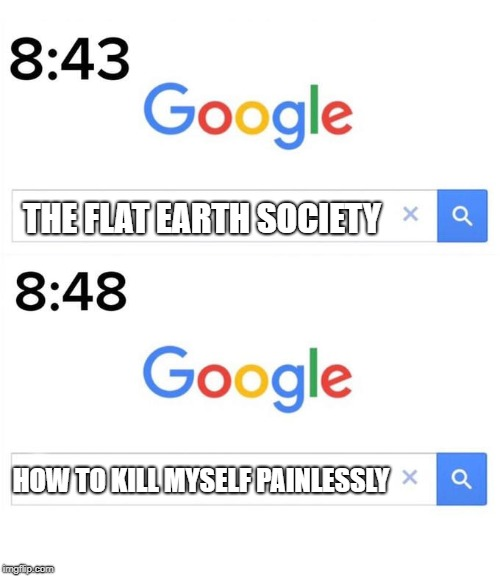 THE FLAT EARTH SOCIETY HOW TO KILL MYSELF PAINLESSLY | image tagged in google before after,memes,funny,flat earth | made w/ Imgflip meme maker