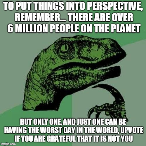Philosoraptor Meme | TO PUT THINGS INTO PERSPECTIVE, REMEMBER... THERE ARE OVER 6 MILLION PEOPLE ON THE PLANET BUT ONLY ONE, AND JUST ONE CAN BE HAVING THE WORST | image tagged in memes,philosoraptor | made w/ Imgflip meme maker
