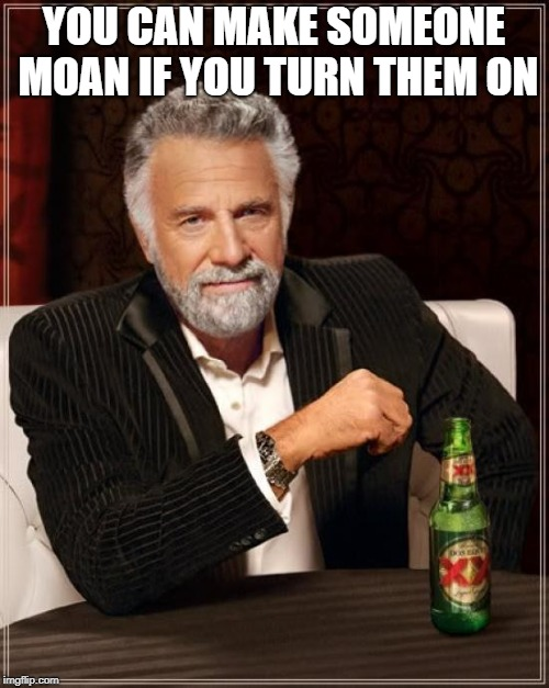 The Most Interesting Man In The World Meme | YOU CAN MAKE SOMEONE MOAN IF YOU TURN THEM ON | image tagged in memes,the most interesting man in the world | made w/ Imgflip meme maker