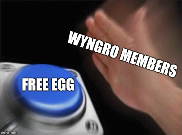 Wyngro Members / Free Egg | WYNGRO MEMBERS FREE EGG | image tagged in memes,blank nut button,wyngro,egg,eggs,wyngrew | made w/ Imgflip meme maker