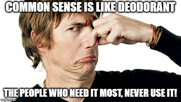 COMMON SENSE IS LIKE DEODORANT THE PEOPLE WHO NEED IT MOST, NEVER USE IT! | image tagged in smelly | made w/ Imgflip meme maker