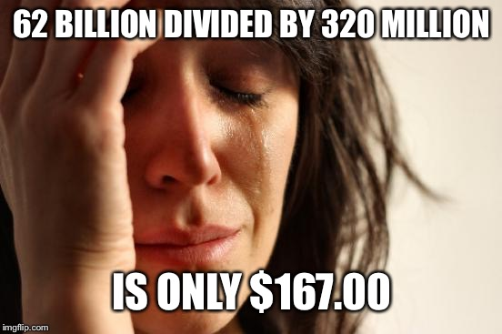 First World Problems Meme | 62 BILLION DIVIDED BY 320 MILLION IS ONLY $167.00 | image tagged in memes,first world problems | made w/ Imgflip meme maker