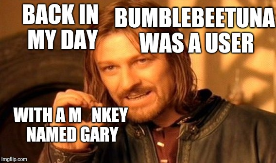 One Does Not Simply Meme | BACK IN MY DAY WITH A M   NKEY NAMED GARY BUMBLEBEETUNA WAS A USER | image tagged in memes,one does not simply | made w/ Imgflip meme maker