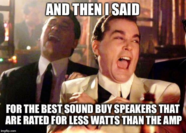 Goodfellas Laugh | AND THEN I SAID FOR THE BEST SOUND BUY SPEAKERS THAT ARE RATED FOR LESS WATTS THAN THE AMP | image tagged in goodfellas laugh | made w/ Imgflip meme maker