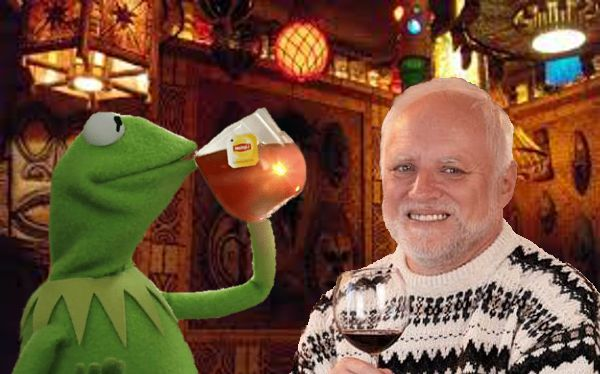 Harold and Kermit at the Oasis Lounge Meme Template