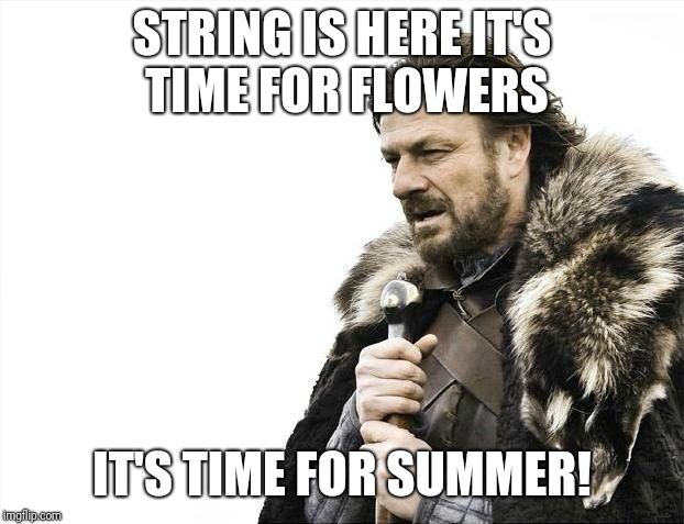Brace Yourselves X is Coming Meme | STRING IS HERE IT'S TIME FOR FLOWERS IT'S TIME FOR SUMMER! | image tagged in memes,brace yourselves x is coming | made w/ Imgflip meme maker