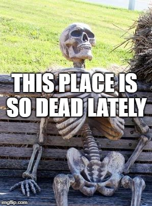 Waiting Skeleton Meme | THIS PLACE IS SO DEAD LATELY | image tagged in memes,waiting skeleton | made w/ Imgflip meme maker