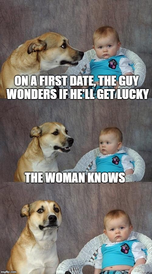 Women's Intuition? | ON A FIRST DATE, THE GUY WONDERS IF HE'LL GET LUCKY THE WOMAN KNOWS | image tagged in memes,dad joke dog | made w/ Imgflip meme maker
