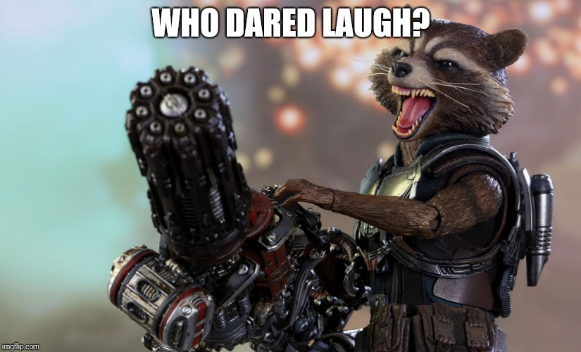 Rocket raccoon | WHO DARED LAUGH? | image tagged in rocket raccoon | made w/ Imgflip meme maker