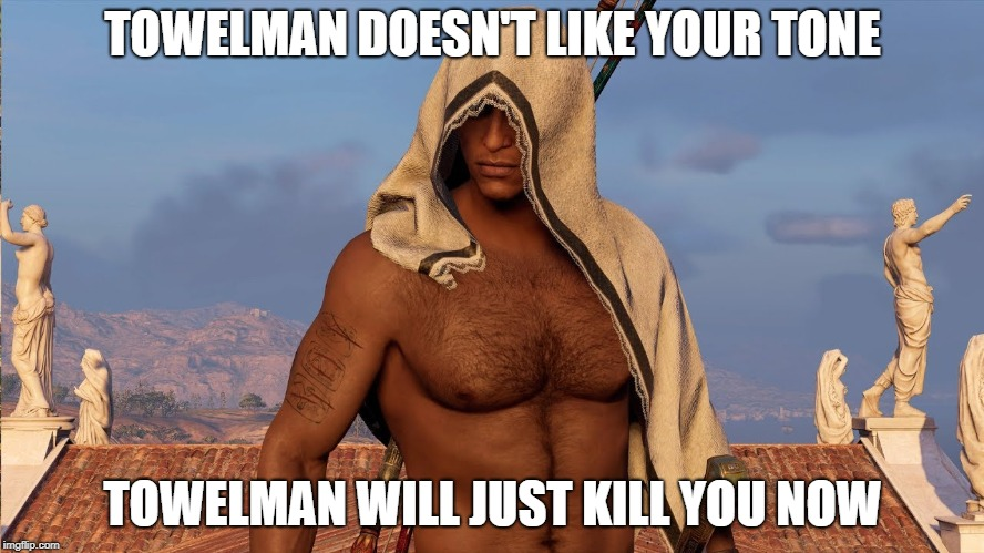 Towelman | TOWELMAN DOESN'T LIKE YOUR TONE TOWELMAN WILL JUST KILL YOU NOW | image tagged in towelman,assassin's creed,origin's,bayek | made w/ Imgflip meme maker