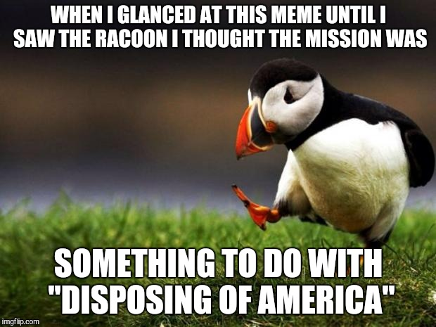 "WHEN I GLANCED AT THIS MEME UNTIL I SAW THE RACOON I THOUGHT THE MISSION WAS SOMETHING TO DO WITH ""DISPOSING OF AMERICA"" 