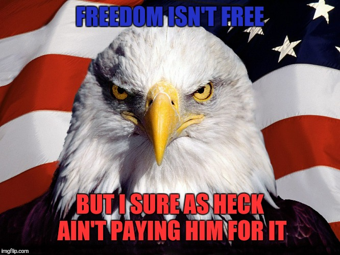 FREEDOM ISN'T FREE BUT I SURE AS HECK AIN'T PAYING HIM FOR IT | made w/ Imgflip meme maker