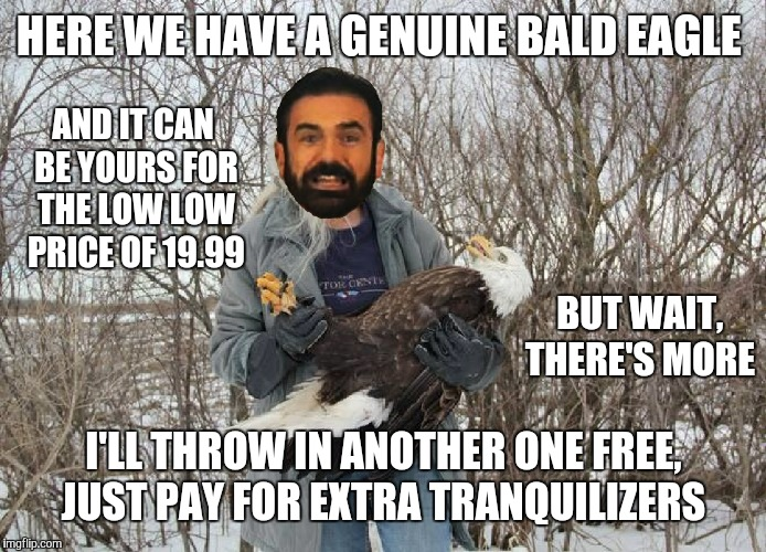 HERE WE HAVE A GENUINE BALD EAGLE I'LL THROW IN ANOTHER ONE FREE, JUST PAY FOR EXTRA TRANQUILIZERS AND IT CAN BE YOURS FOR THE LOW LOW PRICE | made w/ Imgflip meme maker