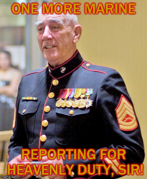 Semper Fi, Gunny. | ONE MORE MARINE REPORTING FOR HEAVENLY DUTY, SIR! | image tagged in r lee ermey,gunny,usmc,marine corps | made w/ Imgflip meme maker