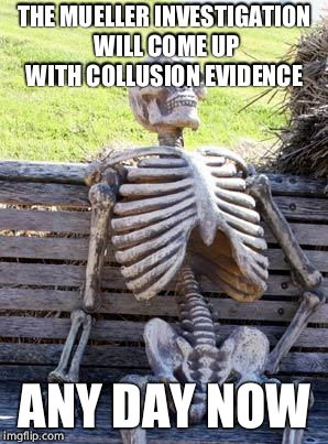 Waiting Skeleton Meme | THE MUELLER INVESTIGATION WILL COME UP WITH COLLUSION EVIDENCE ANY DAY NOW | image tagged in memes,waiting skeleton | made w/ Imgflip meme maker