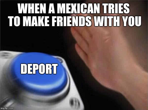 Blank Nut Button Meme | WHEN A MEXICAN TRIES TO MAKE FRIENDS WITH YOU DEPORT | image tagged in memes,blank nut button | made w/ Imgflip meme maker
