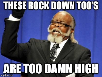 Too Damn High Meme | THESE ROCK DOWN TOO'S ARE TOO DAMN HIGH | image tagged in memes,too damn high | made w/ Imgflip meme maker