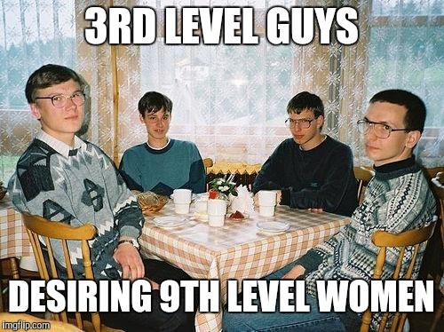 nerd party | 3RD LEVEL GUYS DESIRING 9TH LEVEL WOMEN | image tagged in nerd party | made w/ Imgflip meme maker