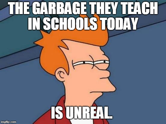 Futurama Fry Meme | THE GARBAGE THEY TEACH IN SCHOOLS TODAY IS UNREAL. | image tagged in memes,futurama fry | made w/ Imgflip meme maker