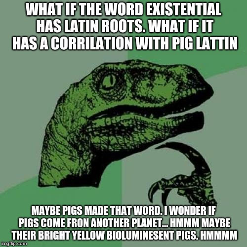 deep thoughts | WHAT IF THE WORD EXISTENTIAL HAS LATIN ROOTS. WHAT IF IT HAS A CORRILATION WITH PIG LATTIN MAYBE PIGS MADE THAT WORD. I WONDER IF PIGS COME  | image tagged in memes,philosoraptor | made w/ Imgflip meme maker