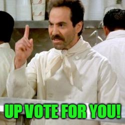 Soup Nazi | UP VOTE FOR YOU! | image tagged in soup nazi | made w/ Imgflip meme maker