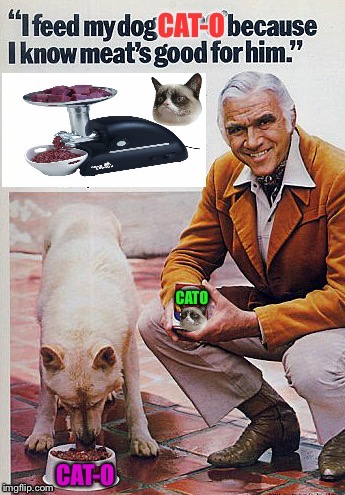 And no added filler! | E | image tagged in bonanza lorne greene,alpo dog food,tv commercial,funny animals,meme,grumpy cat | made w/ Imgflip meme maker