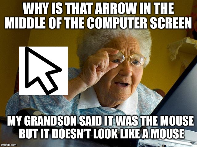 Grandma Finds The Internet Meme | WHY IS THAT ARROW IN THE MIDDLE OF THE COMPUTER SCREEN MY GRANDSON SAID IT WAS THE MOUSE BUT IT DOESN'T LOOK LIKE A MOUSE | image tagged in memes,grandma finds the internet | made w/ Imgflip meme maker