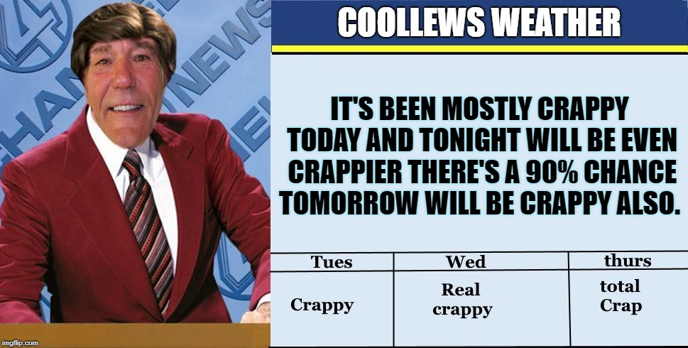coollews weather | COOLLEWS WEATHER IT'S BEEN MOSTLY CRAPPY TODAY AND TONIGHT WILL BE EVEN CRAPPIER THERE'S A 90% CHANCE TOMORROW WILL BE CRAPPY ALSO. | image tagged in coollew,weather,funny | made w/ Imgflip meme maker