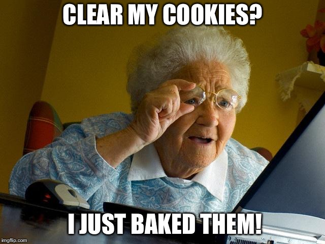 I don't care that it's a repost. It's a classic.  | CLEAR MY COOKIES? I JUST BAKED THEM! | image tagged in memes,grandma finds the internet,repost | made w/ Imgflip meme maker