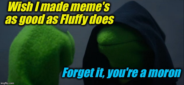 Evil Kermit Meme | Wish I made meme's as good as Fluffy does Forget it, you're a moron | image tagged in memes,evil kermit | made w/ Imgflip meme maker